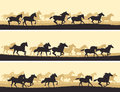 Horizontal illustration herd of horses vector banner silhouette Royalty Free Stock Image