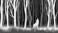 Horizontal illustration of night forest with wolf.