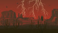 Horizontal illustration of prairie wild west with thunderstorm l cartoon lightning in red dark Royalty Free Stock Photo