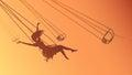 Horizontal illustration silhouette girl on swing at sunset.
