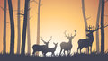 Horizontal illustration of wild animals in wood vector deer forest sunset Royalty Free Stock Photo