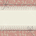 Horizontal lace frame with elegant flowers and leaves Royalty Free Stock Photo