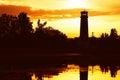 Horizontal lighthouse sunset landscape background Royalty Free Stock Photo