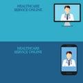 Horizontal medical banners, telemedicine 2 icon