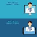 Horizontal medical banners, telemedicine 2-2 icon