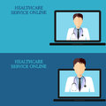 Horizontal medical banners, telemedicine 2-3 icon