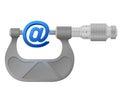 Horizontal micrometer measures mail symbol