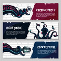 Horizontal music banners set with octopus.