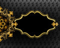 Horizontal ornate frame with the mandala in golden yellow shades