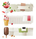 Horizontal paper banners with colorful ice cream Stock Photography