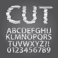 Horizontal paper cut alphabet and digit vector set of Stock Photography