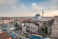Horizontal photo of a regular istanbul day the visible mosque is mihrimah sultan mosque Stock Images