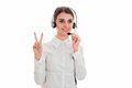 Horizontal portrait of young cheerful call office worker girl with headphones and microphone isolated on white Royalty Free Stock Photo