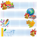 Horizontal school banners contains transparent objects eps Royalty Free Stock Photo