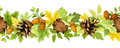 Horizontal seamless background with autumn leaves, cones and acorns. Vector illustration. Royalty Free Stock Photo