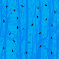 Horizontal seamless background, bird, blue tree Royalty Free Stock Photography