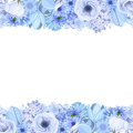 Horizontal seamless background with blue flowers. Vector illustration. Royalty Free Stock Photo