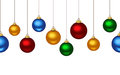 Horizontal seamless background with christmas balls colorful hanging on white Royalty Free Stock Image