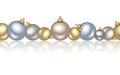 Horizontal seamless background with christmas balls silver golden and blue Royalty Free Stock Photography