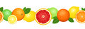 Horizontal seamless background with citrus fruits illustration of oranges lemons limes and grapefruits Stock Photography