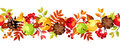 Horizontal seamless background with colorful autumn leaves, apples and cones. Vector illustration. Royalty Free Stock Photo