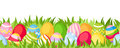 Horizontal seamless background with colorful Easter eggs. Vector illustration.
