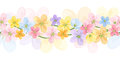 Horizontal seamless background with colorful flowe pastel flowers on white Royalty Free Stock Photos