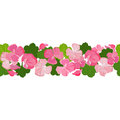Horizontal seamless background with colorful geranium flowers and leaves.