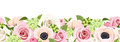 Horizontal seamless background with colorful roses, anemones and hydrangea flowers. Vector illustration.