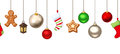 Horizontal seamless background with hanging Christmas decorations. Vector illustration.