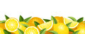 Horizontal seamless background with lemons yellow and green leaves Stock Image