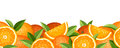 Horizontal seamless background with oranges and green leaves Stock Photos