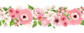 Horizontal seamless background with pink flowers. Vector illustration. Royalty Free Stock Photo