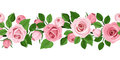 Horizontal seamless background with pink roses rose buds and leaves on white Stock Photos