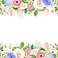 Horizontal seamless background with pink, white and blue flowers. Vector illustration. Royalty Free Stock Photo