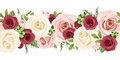 Horizontal seamless background with red pink and white roses vector illustration green leaves on a Royalty Free Stock Photos