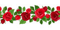 Horizontal seamless background with red roses rose buds and leaves on white Royalty Free Stock Photo