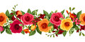 Horizontal seamless background with red and yellow roses and freesia. Vector illustration.