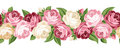 Horizontal seamless background with roses. Stock Photos