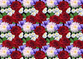 Horizontal seamless background with roses dahlias asters abstract and petunias on a black Stock Image