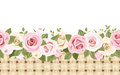 Horizontal seamless background with roses and wicker pink white english Royalty Free Stock Photography