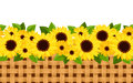 Horizontal seamless background with sunflowers and calendula flowers leaves wicker Stock Image