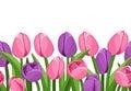 Horizontal seamless background with tulips. Royalty Free Stock Photo