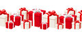 Horizontal seamless background with white and red gift boxes. Vector illustration.
