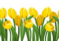 Horizontal seamless background with yellow tulips. Royalty Free Stock Photo