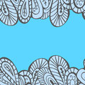 Horizontal seamless border hand drawn abstract in turquoise tones Stock Photo