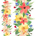 Horizontal seamless floral borders. Roses and wild flowers drawn