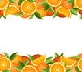 Horizontal seamless frame with oranges. Vector illustration. Royalty Free Stock Photo