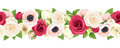Horizontal seamless garland with red, pink and white flowers. Vector illustration.