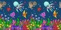 Horizontal seamless pattern with marine life: fish, starfish, jellyfish, seaweed, shells, bubbles and corals. Hand draw art